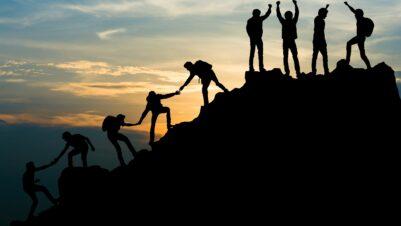 teamwork hiking